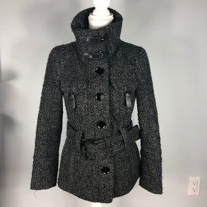 Zara Boucle and Leather Coat M